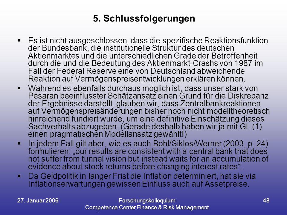27. Januar 2006Forschungskolloquium Competence Center Finance & Risk Management 48  Es ist nicht ausgeschlossen, dass die spezifische Reaktionsfunkti