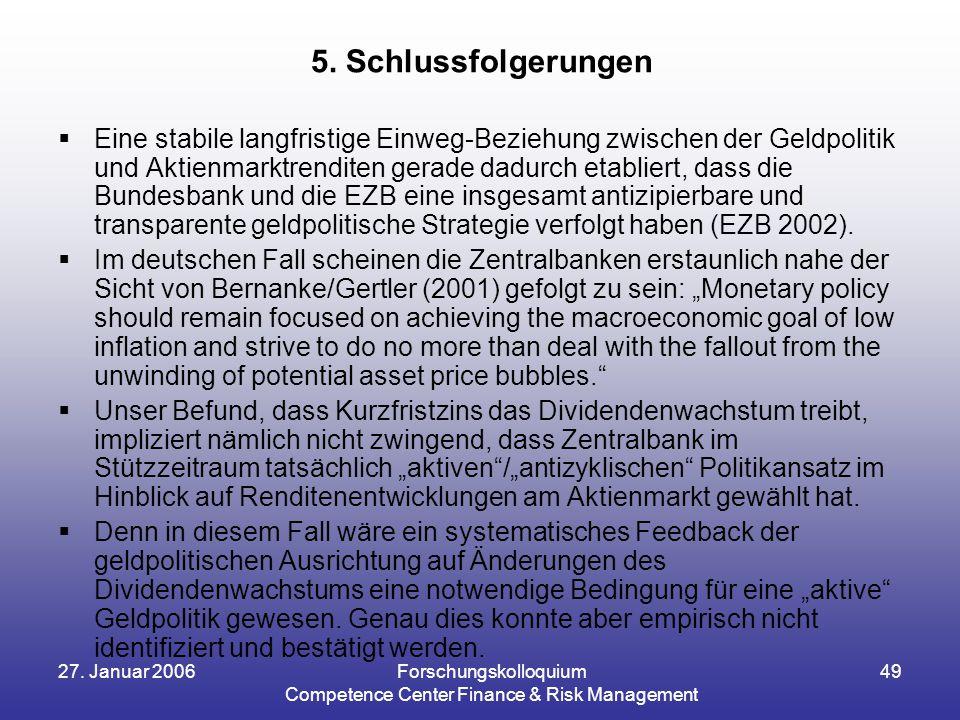 27. Januar 2006Forschungskolloquium Competence Center Finance & Risk Management 49  Eine stabile langfristige Einweg-Beziehung zwischen der Geldpolit