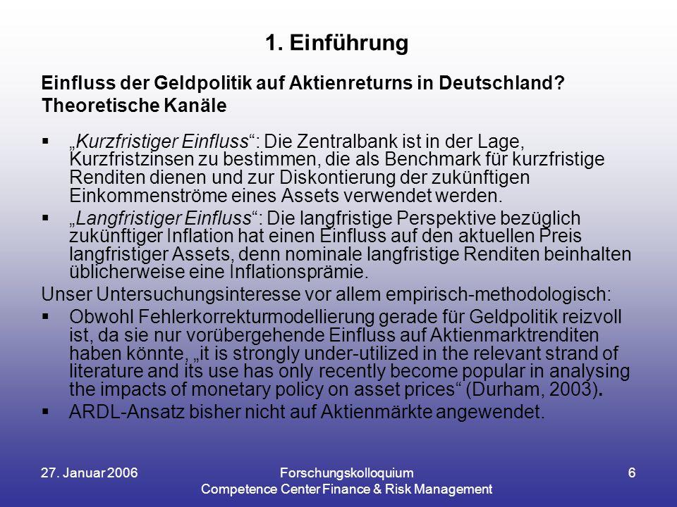 27. Januar 2006Forschungskolloquium Competence Center Finance & Risk Management 6 Einfluss der Geldpolitik auf Aktienreturns in Deutschland? Theoretis