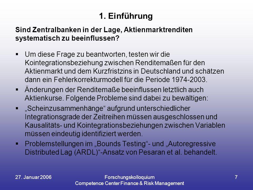 27. Januar 2006Forschungskolloquium Competence Center Finance & Risk Management 7 Sind Zentralbanken in der Lage, Aktienmarktrenditen systematisch zu