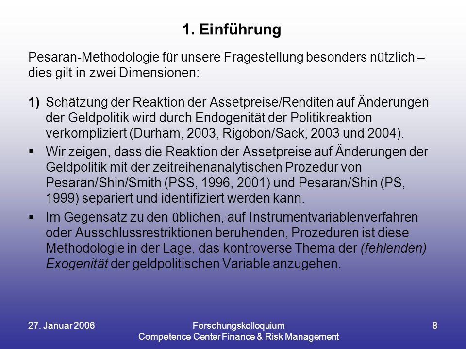 27. Januar 2006Forschungskolloquium Competence Center Finance & Risk Management 8 Pesaran-Methodologie für unsere Fragestellung besonders nützlich – d