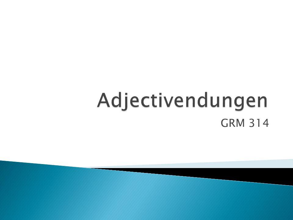  Beiwort – ein Adjektiv beschreibt Substantive  gewöhnlich kommen Adjektive in 2 Stellen vor: ◦ vor einem Substantiv:  das junge Kind ◦ nach sein = Ergänzung des Verbs:  Das Kind ist jung.