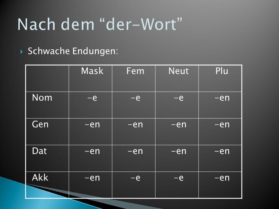 """Nach dem """"der-Wort""""  Schwache Endungen: MaskFemNeutPlu Nom-e -en Gen-en Dat-en Akk-en-e -en"""