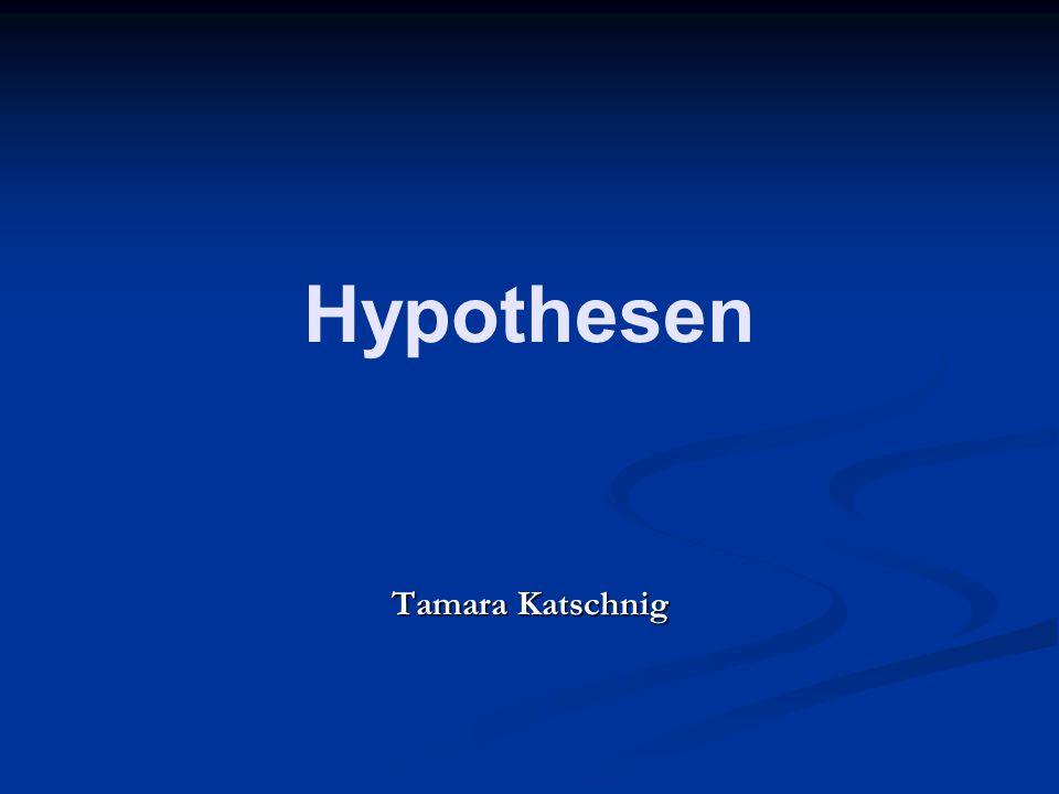 Hypothesen Tamara Katschnig