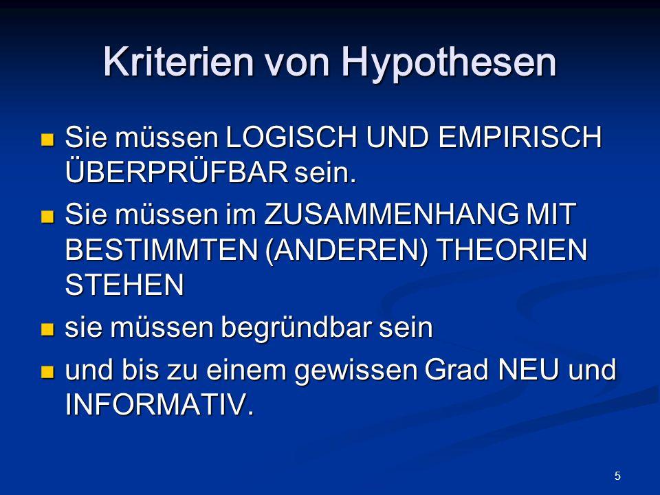 5 Kriterien von Hypothesen Sie müssen LOGISCH UND EMPIRISCH ÜBERPRÜFBAR sein. Sie müssen LOGISCH UND EMPIRISCH ÜBERPRÜFBAR sein. Sie müssen im ZUSAMME