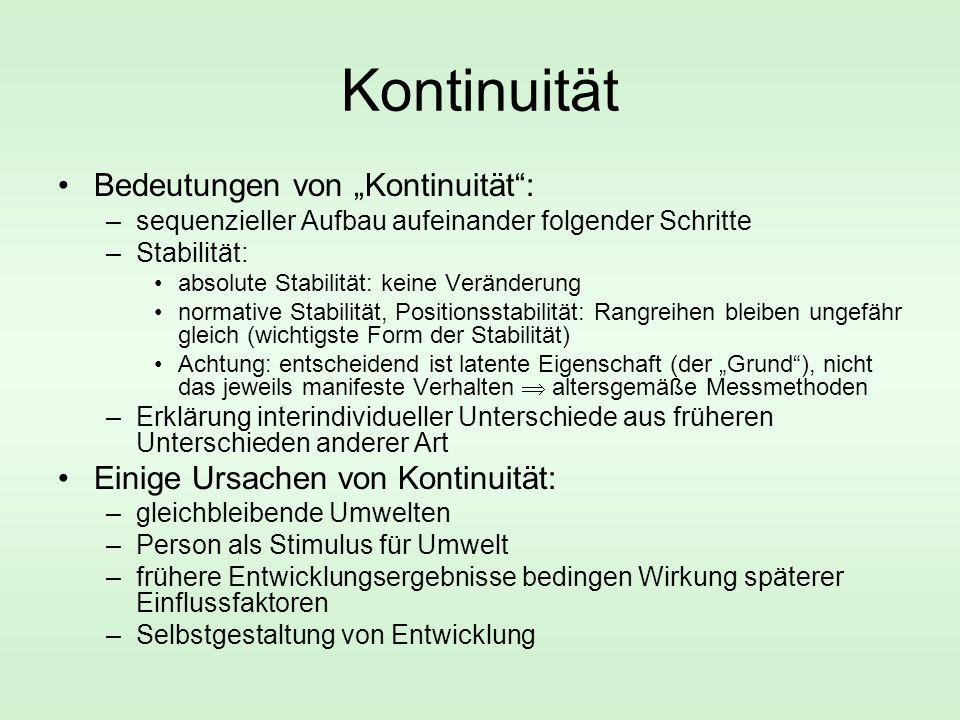 """Kontinuität Bedeutungen von """"Kontinuität"""": –sequenzieller Aufbau aufeinander folgender Schritte –Stabilität: absolute Stabilität: keine Veränderung no"""