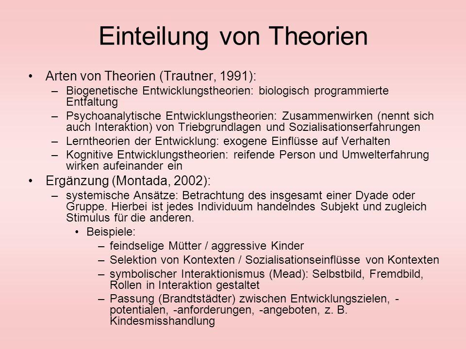 Einteilung von Theorien Arten von Theorien (Trautner, 1991): –Biogenetische Entwicklungstheorien: biologisch programmierte Entfaltung –Psychoanalytisc