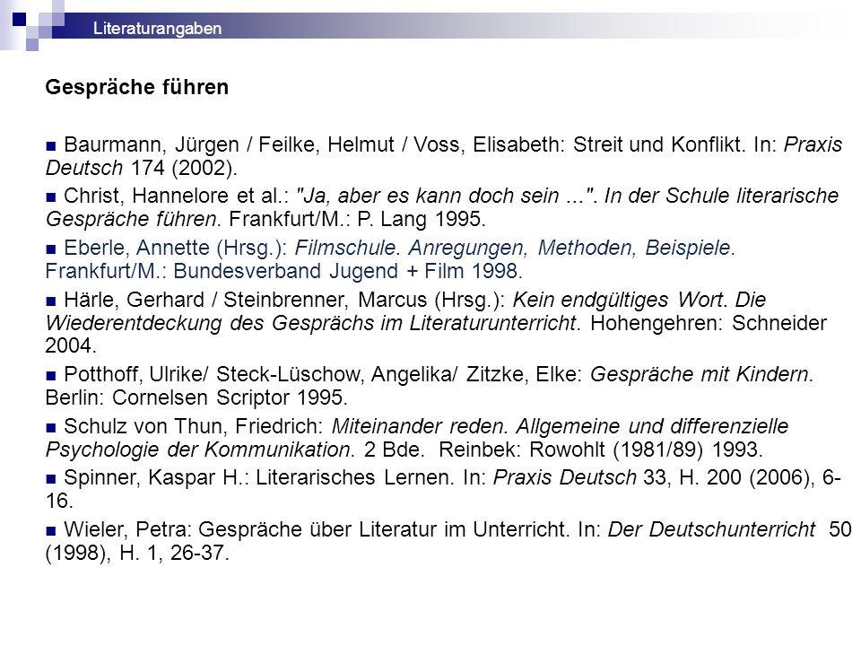Gespräche führen Baurmann, Jürgen / Feilke, Helmut / Voss, Elisabeth: Streit und Konflikt. In: Praxis Deutsch 174 (2002). Christ, Hannelore et al.: