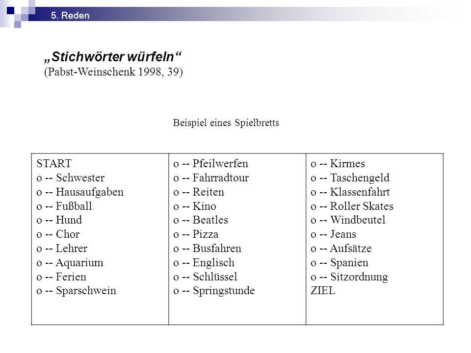 """""""Stichwörter würfeln"""" (Pabst-Weinschenk 1998, 39) Beispiel eines Spielbretts START o -- Schwester o -- Hausaufgaben o -- Fußball o -- Hund o -- Chor o"""