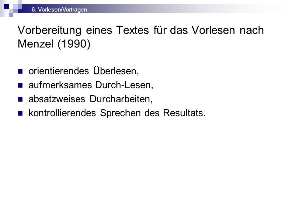 Vorbereitung eines Textes für das Vorlesen nach Menzel (1990) orientierendes Überlesen, aufmerksames Durch-Lesen, absatzweises Durcharbeiten, kontrollierendes Sprechen des Resultats.