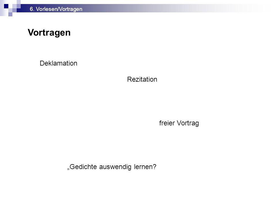 """Vortragen 6. Vorlesen/Vortragen Deklamation Rezitation freier Vortrag """"Gedichte auswendig lernen?"""