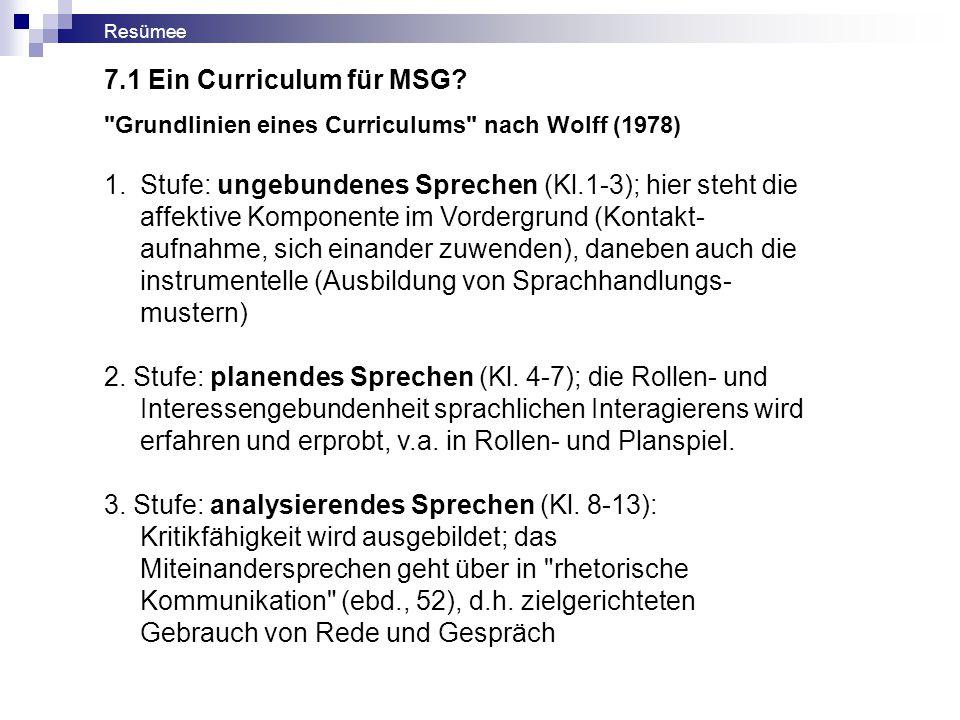 Resümee Grundlinien eines Curriculums nach Wolff (1978) 1.Stufe: ungebundenes Sprechen (Kl.1-3); hier steht die affektive Komponente im Vordergrund (Kontakt- aufnahme, sich einander zuwenden), daneben auch die instrumentelle (Ausbildung von Sprachhandlungs- mustern) 2.
