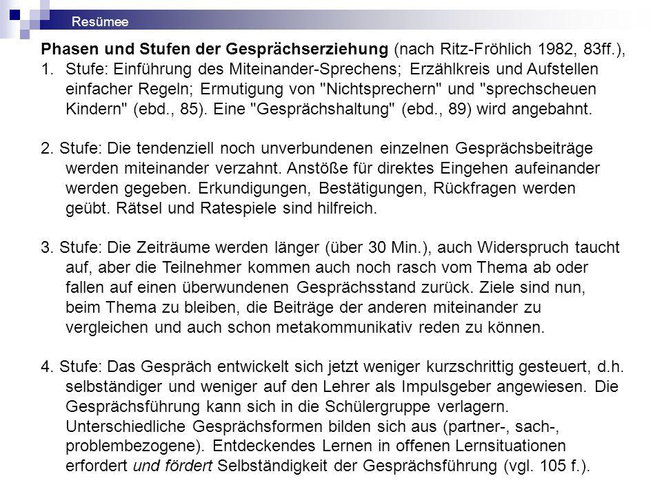 Phasen und Stufen der Gesprächserziehung (nach Ritz-Fröhlich 1982, 83ff.), 1.Stufe: Einführung des Miteinander-Sprechens; Erzählkreis und Aufstellen einfacher Regeln; Ermutigung von Nichtsprechern und sprechscheuen Kindern (ebd., 85).