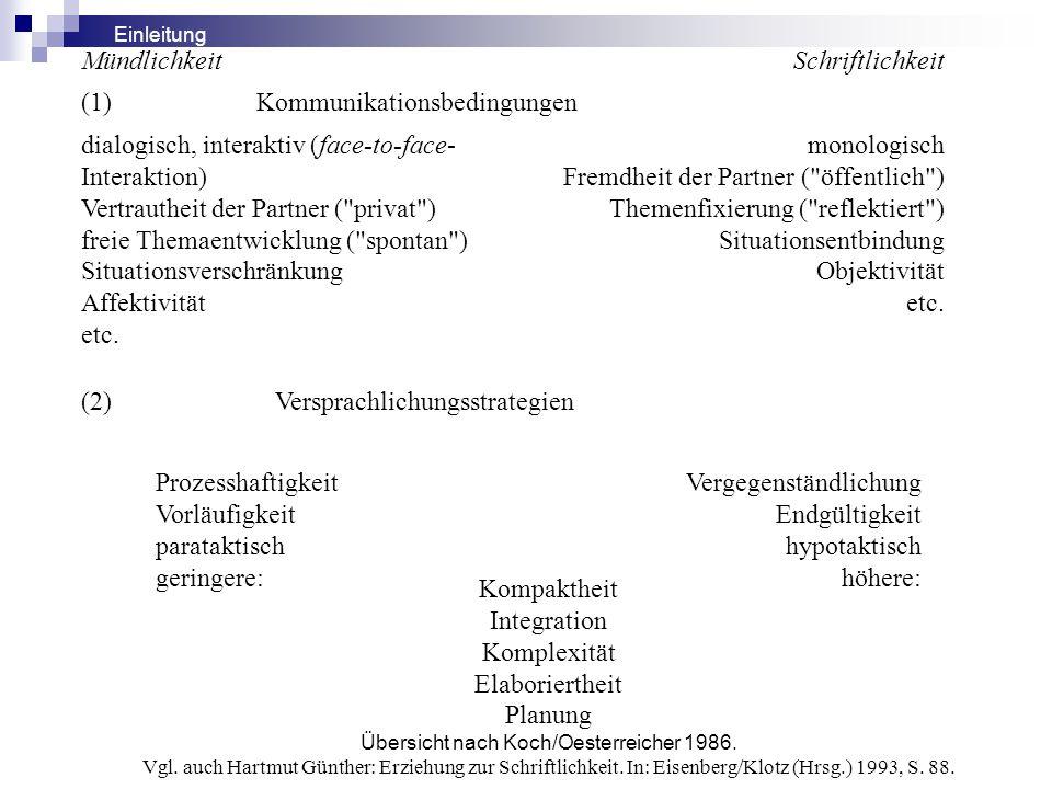 MündlichkeitSchriftlichkeit (1) Kommunikationsbedingungen dialogisch, interaktiv (face-to-face- Interaktion) Vertrautheit der Partner (