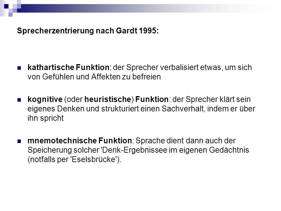 Sprecherzentrierung nach Gardt 1995: kathartische Funktion: der Sprecher verbalisiert etwas, um sich von Gefühlen und Affekten zu befreien kognitive (