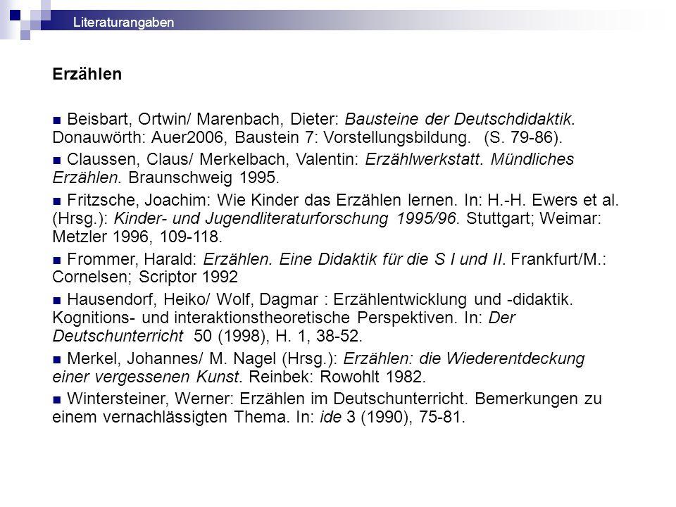 Erzählen Beisbart, Ortwin/ Marenbach, Dieter: Bausteine der Deutschdidaktik. Donauwörth: Auer2006, Baustein 7: Vorstellungsbildung. (S. 79-86). Clauss