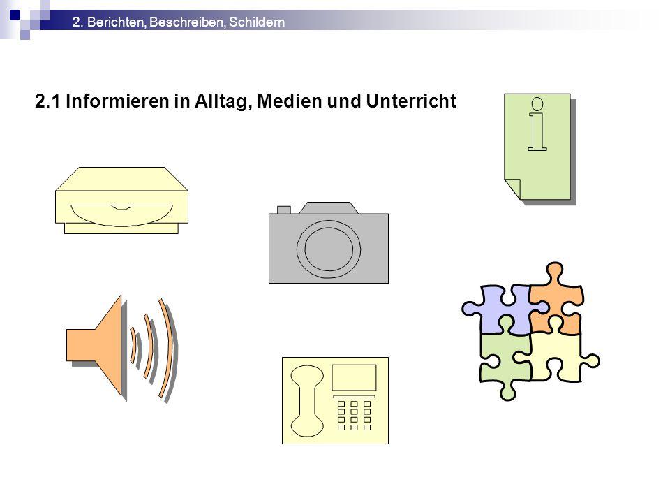 2.1 Informieren in Alltag, Medien und Unterricht 2. Berichten, Beschreiben, Schildern
