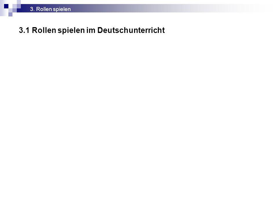 3.1 Rollen spielen im Deutschunterricht 3. Rollen spielen