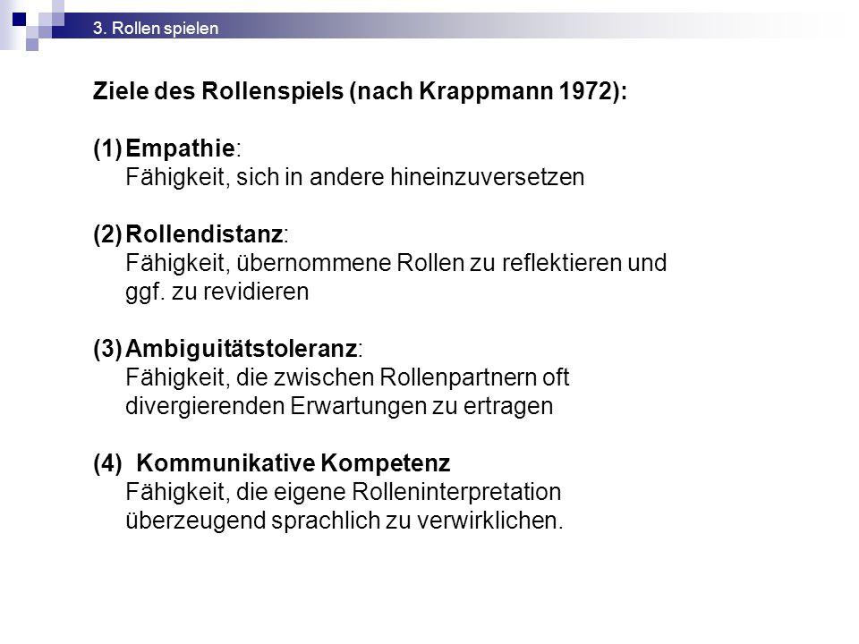 Ziele des Rollenspiels (nach Krappmann 1972): (1)Empathie: Fähigkeit, sich in andere hineinzuversetzen (2)Rollendistanz: Fähigkeit, übernommene Rollen zu reflektieren und ggf.