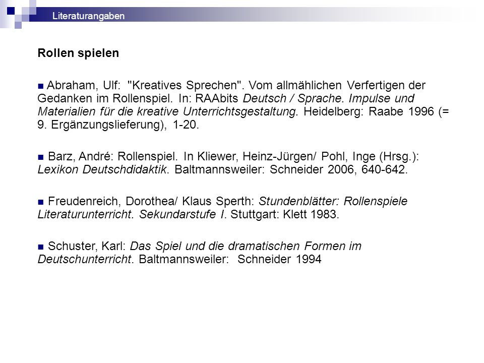 Rollen spielen Abraham, Ulf: Kreatives Sprechen .