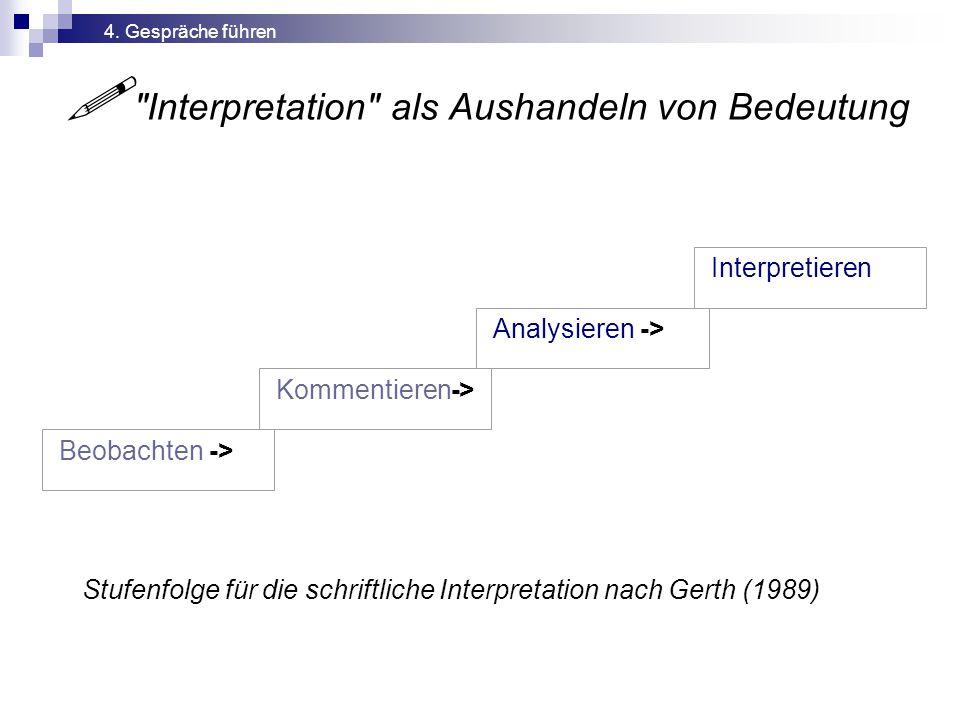  Interpretation als Aushandeln von Bedeutung Stufenfolge für die schriftliche Interpretation nach Gerth (1989) Interpretieren Analysieren -> Kommentieren-> Beobachten -> 4.