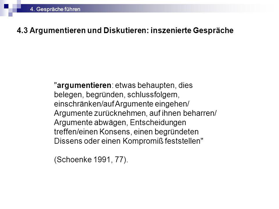 4.3 Argumentieren und Diskutieren: inszenierte Gespräche 4.