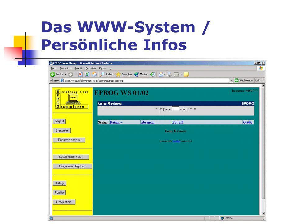 Das WWW-System / Persönliche Infos