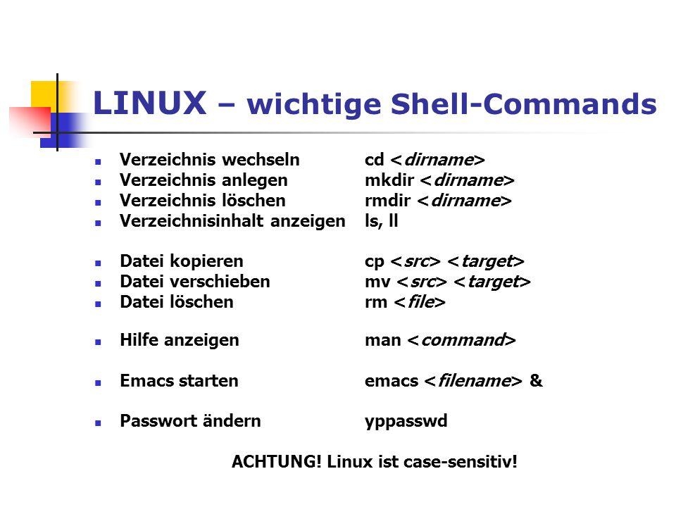LINUX – wichtige Shell-Commands Verzeichnis wechselncd Verzeichnis anlegenmkdir Verzeichnis löschenrmdir Verzeichnisinhalt anzeigenls, ll Datei kopier