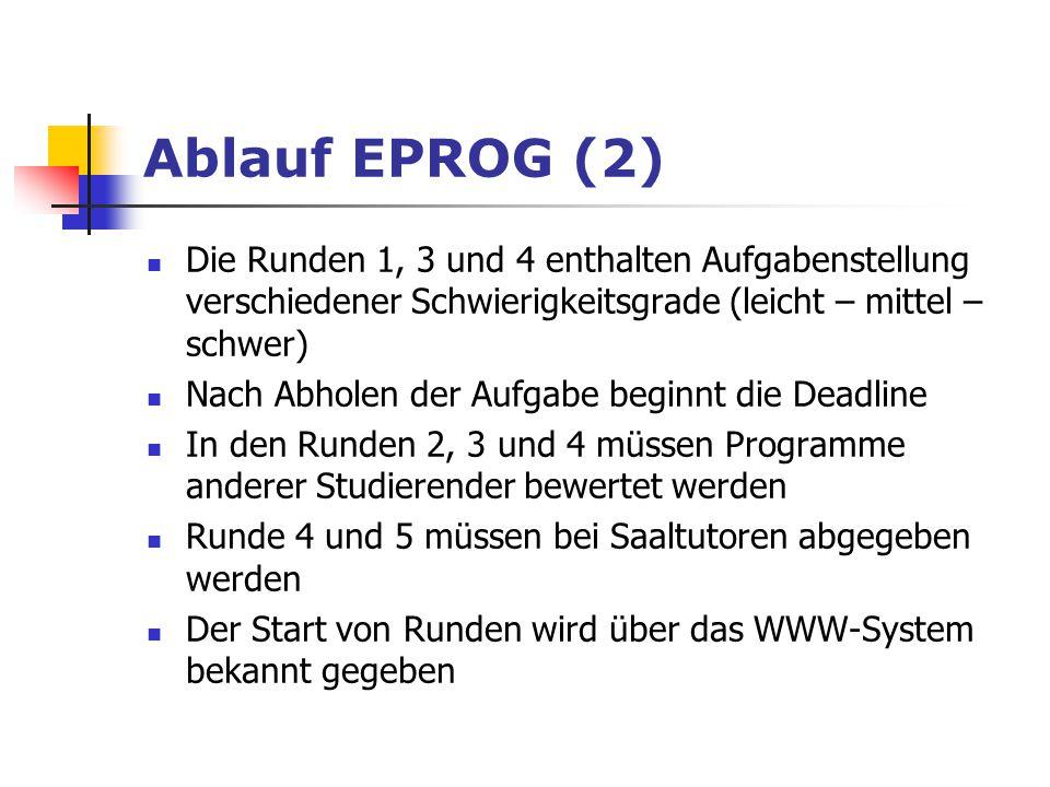 Ablauf EPROG (2) Die Runden 1, 3 und 4 enthalten Aufgabenstellung verschiedener Schwierigkeitsgrade (leicht – mittel – schwer) Nach Abholen der Aufgab