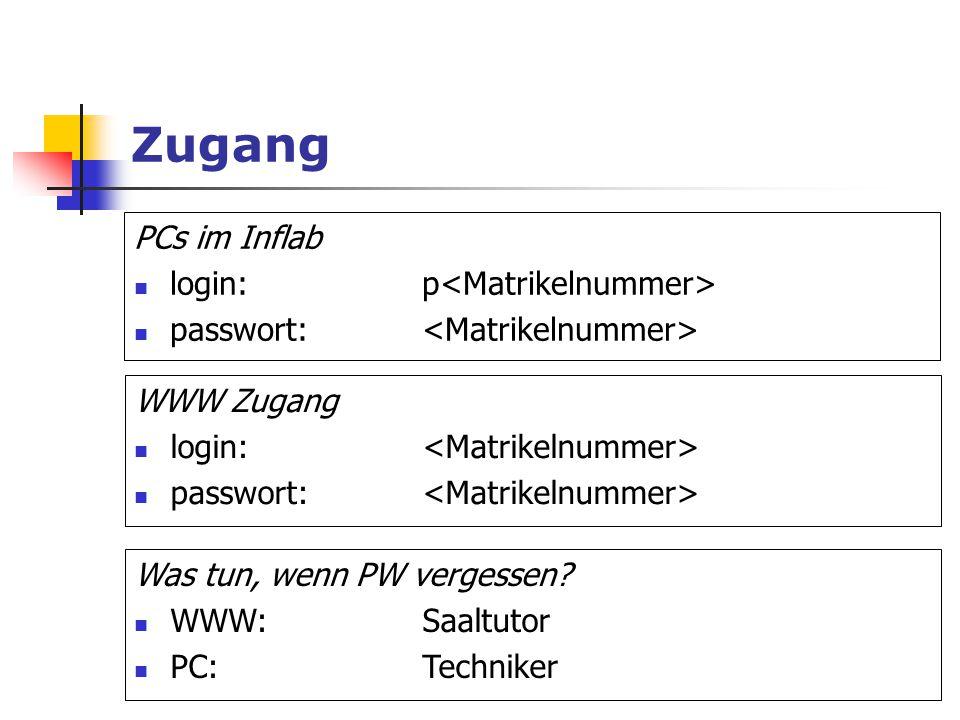 Zugang PCs im Inflab login:p passwort: WWW Zugang login: passwort: Was tun, wenn PW vergessen? WWW:Saaltutor PC:Techniker