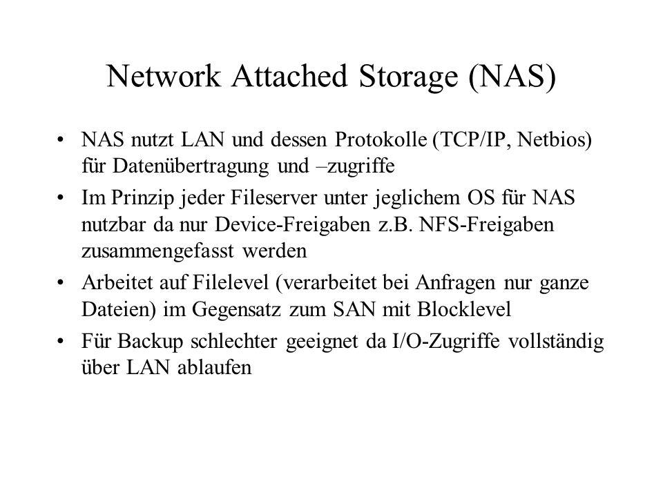 Network Attached Storage (NAS) NAS nutzt LAN und dessen Protokolle (TCP/IP, Netbios) für Datenübertragung und –zugriffe Im Prinzip jeder Fileserver unter jeglichem OS für NAS nutzbar da nur Device-Freigaben z.B.