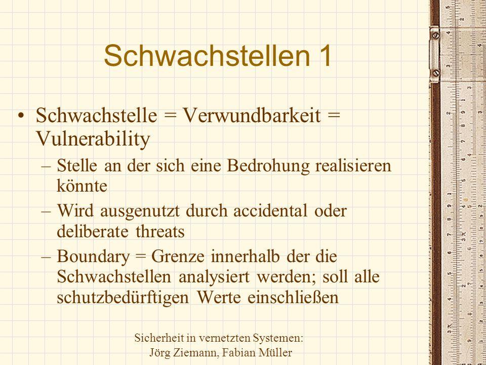 Sicherheit in vernetzten Systemen: Jörg Ziemann, Fabian Müller Schwachstellen 1 Schwachstelle = Verwundbarkeit = Vulnerability –Stelle an der sich ein