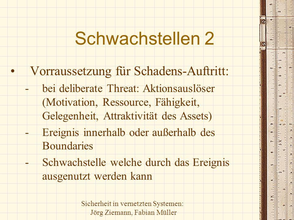 Sicherheit in vernetzten Systemen: Jörg Ziemann, Fabian Müller Schwachstellen 2 Vorraussetzung für Schadens-Auftritt: -bei deliberate Threat: Aktionsa