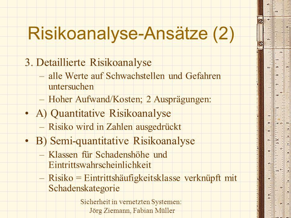 Sicherheit in vernetzten Systemen: Jörg Ziemann, Fabian Müller Risikoanalyse-Ansätze (2) 3. Detaillierte Risikoanalyse –alle Werte auf Schwachstellen