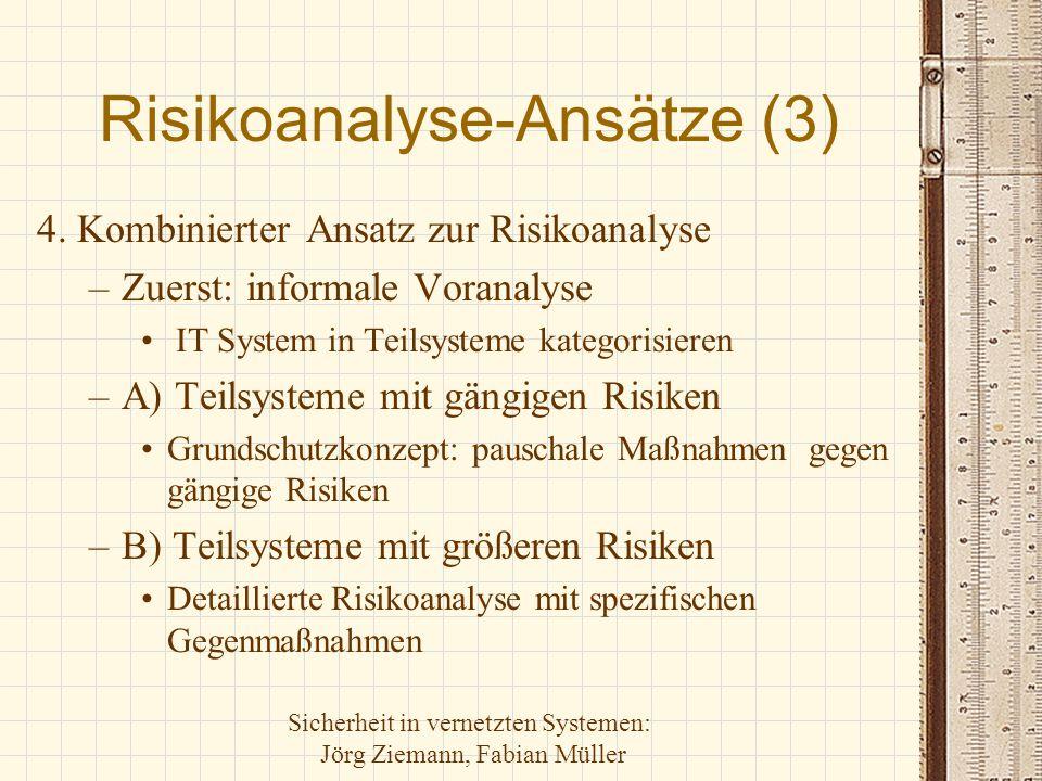 Sicherheit in vernetzten Systemen: Jörg Ziemann, Fabian Müller Risikoanalyse-Ansätze (3) 4. Kombinierter Ansatz zur Risikoanalyse –Zuerst: informale V