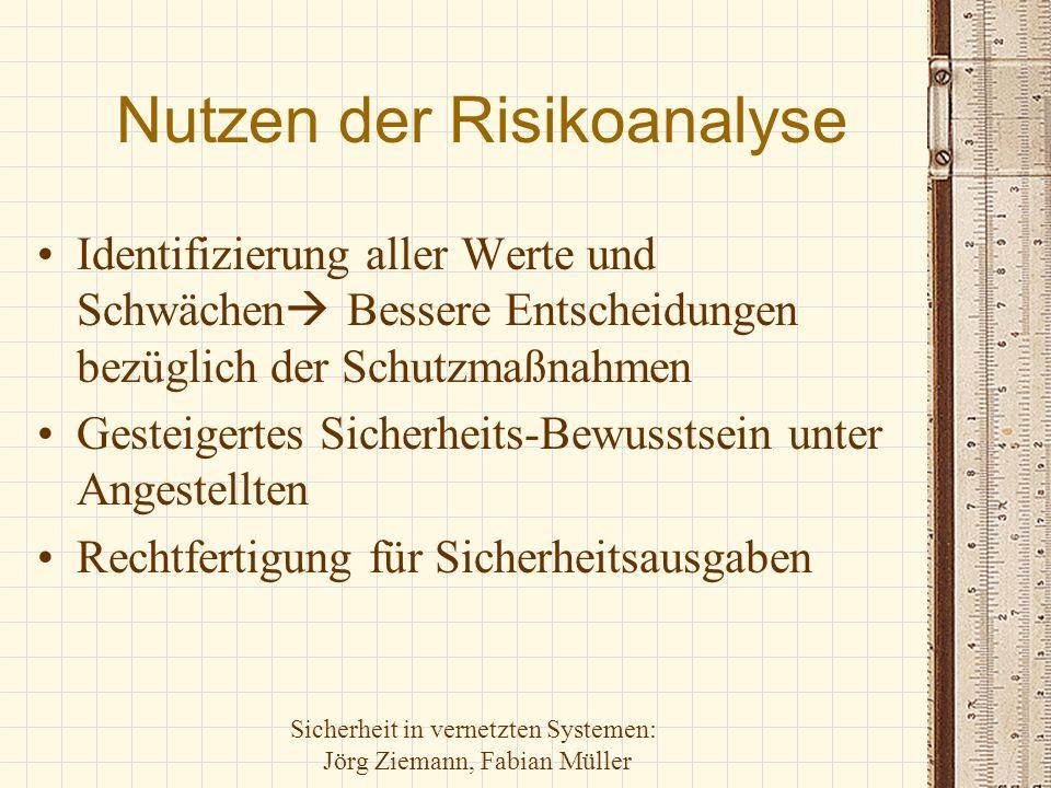 Sicherheit in vernetzten Systemen: Jörg Ziemann, Fabian Müller Nutzen der Risikoanalyse Identifizierung aller Werte und Schwächen  Bessere Entscheidu