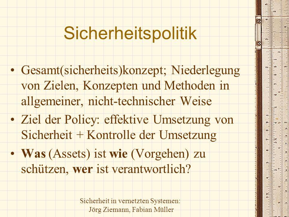 Sicherheit in vernetzten Systemen: Jörg Ziemann, Fabian Müller Sicherheitspolitik Gesamt(sicherheits)konzept; Niederlegung von Zielen, Konzepten und M