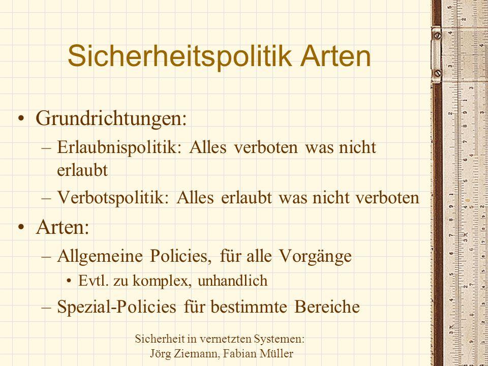 Sicherheit in vernetzten Systemen: Jörg Ziemann, Fabian Müller Sicherheitspolitik Arten Grundrichtungen: –Erlaubnispolitik: Alles verboten was nicht e