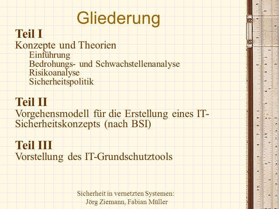 Sicherheit in vernetzten Systemen: Jörg Ziemann, Fabian Müller Gliederung Teil I Konzepte und Theorien Einführung Bedrohungs- und Schwachstellenanalys