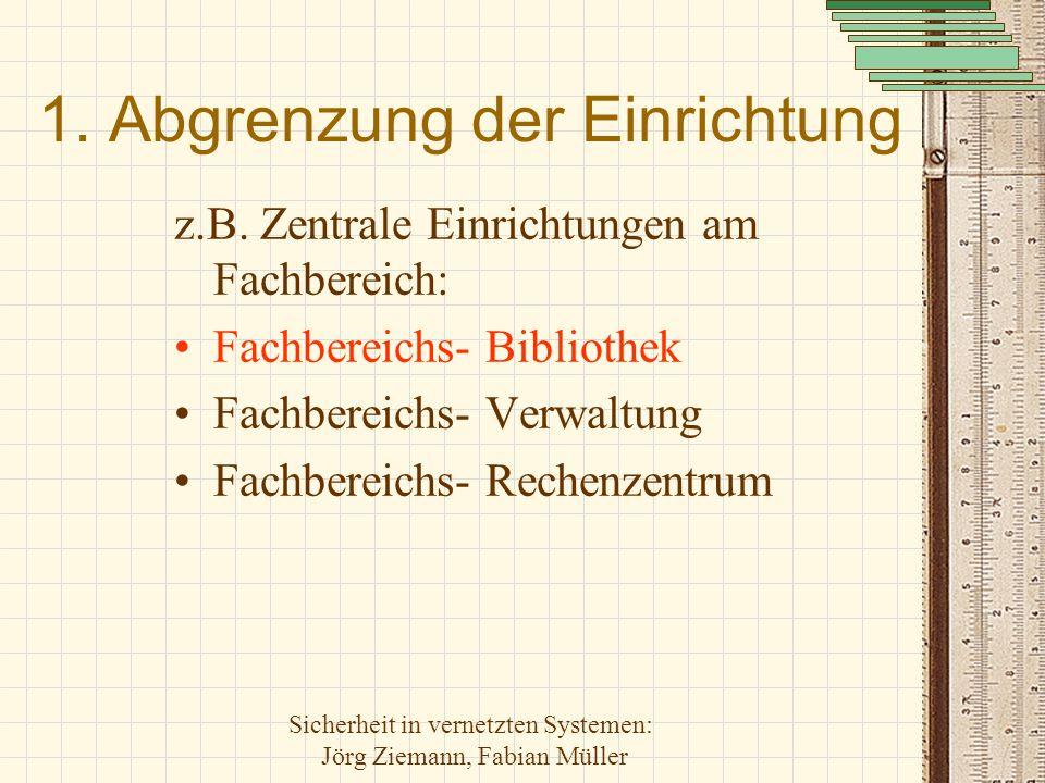 Sicherheit in vernetzten Systemen: Jörg Ziemann, Fabian Müller 1. Abgrenzung der Einrichtung z.B. Zentrale Einrichtungen am Fachbereich: Fachbereichs-