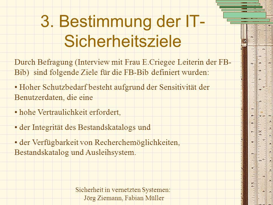 Sicherheit in vernetzten Systemen: Jörg Ziemann, Fabian Müller 3. Bestimmung der IT- Sicherheitsziele Durch Befragung (Interview mit Frau E.Criegee Le