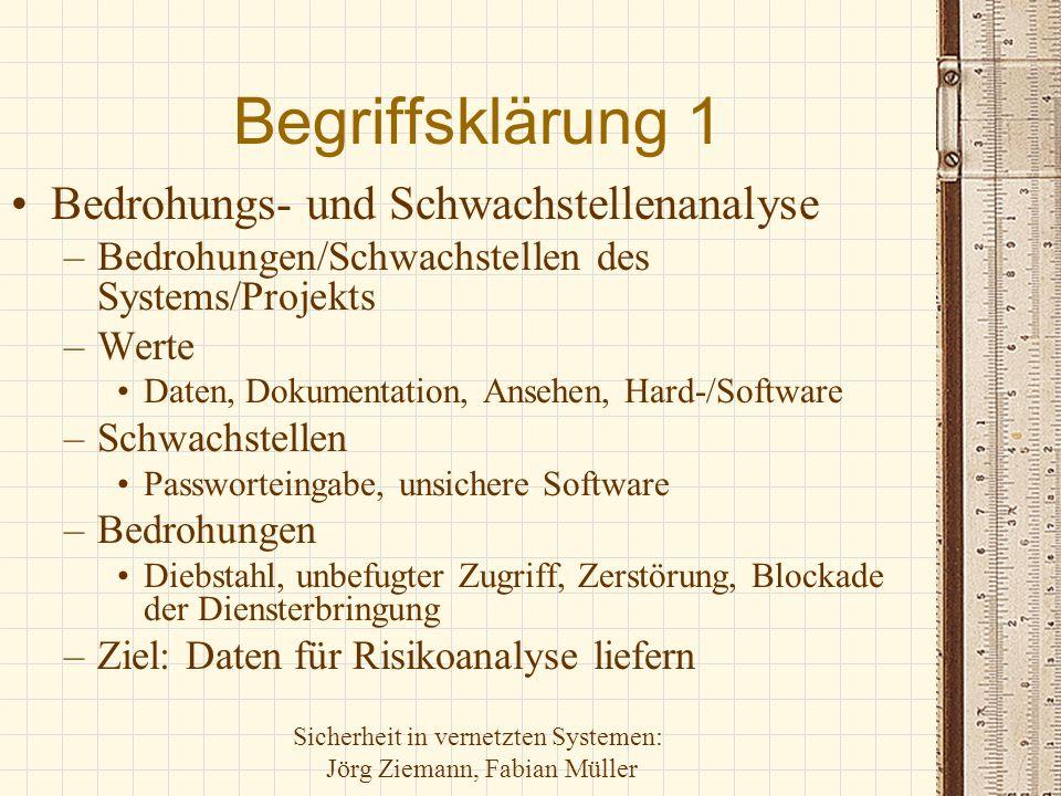 Sicherheit in vernetzten Systemen: Jörg Ziemann, Fabian Müller Begriffsklärung 1 Bedrohungs- und Schwachstellenanalyse –Bedrohungen/Schwachstellen des
