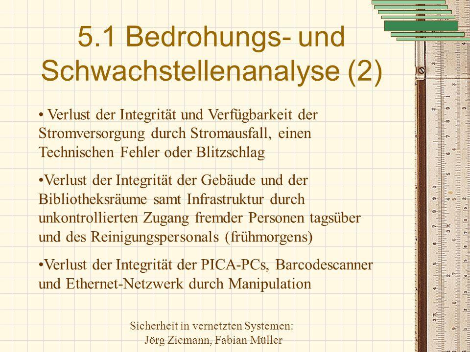 Sicherheit in vernetzten Systemen: Jörg Ziemann, Fabian Müller 5.1 Bedrohungs- und Schwachstellenanalyse (2) Verlust der Integrität und Verfügbarkeit