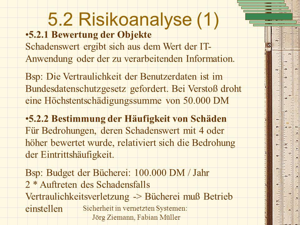 Sicherheit in vernetzten Systemen: Jörg Ziemann, Fabian Müller 5.2 Risikoanalyse (1) 5.2.1 Bewertung der Objekte Schadenswert ergibt sich aus dem Wert