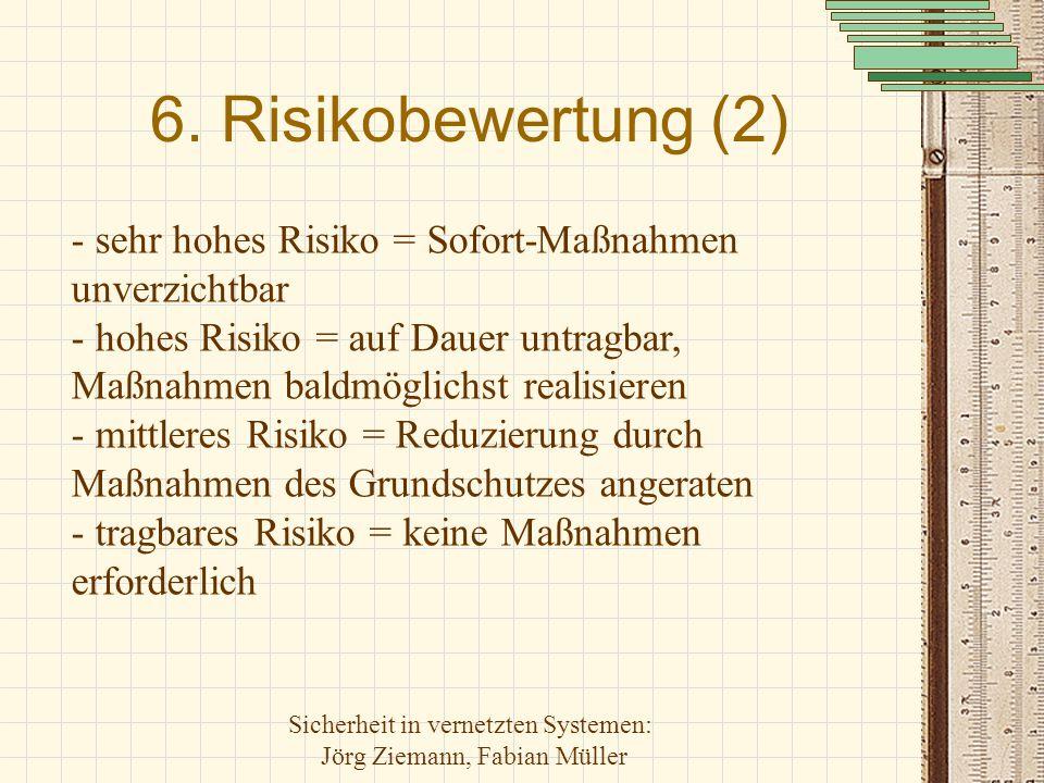 Sicherheit in vernetzten Systemen: Jörg Ziemann, Fabian Müller 6. Risikobewertung (2) - sehr hohes Risiko = Sofort-Maßnahmen unverzichtbar - hohes Ris