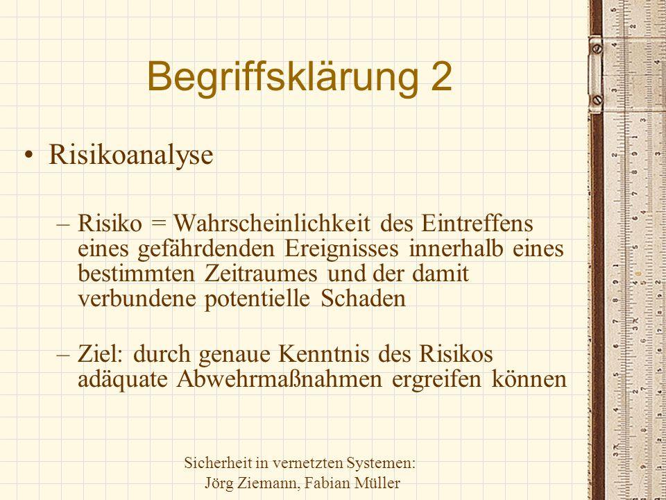 Sicherheit in vernetzten Systemen: Jörg Ziemann, Fabian Müller Begriffsklärung 3 Sicherheitspolitik –Niederlegung von Zielen, Konzepten und Methoden in allgemeiner, nicht-technischer Weise –Ziel: effektive Umsetzung von Sicherheit + Kontrolle der Umsetzung