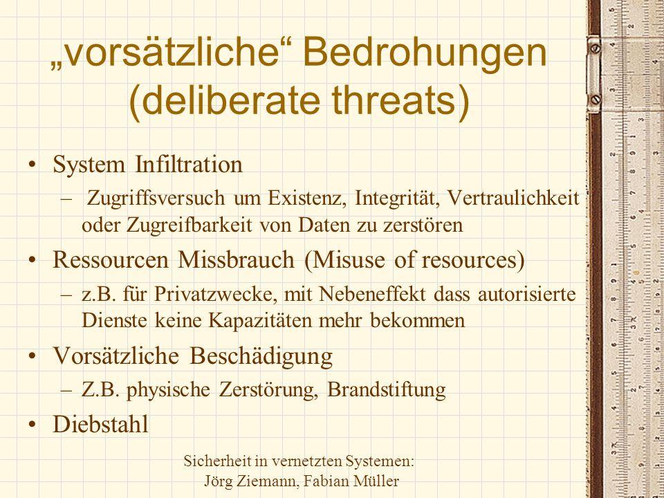 """Sicherheit in vernetzten Systemen: Jörg Ziemann, Fabian Müller """"zufällige Bedrohungen (accidental threats) Natürliche Ereignisse –Feuer, Wasser, Wetter, Personalausfälle Menschliche Fehler –Programmierer, Administratoren, Benutzer, Ingenieure (Maintenance) Fehlfunktion von Ausrüstung und Software –CPU-, Speicher-, I/O, Netzwerkkomponenten-, Softwarefehlfunktionen bzw.-Ausfall"""