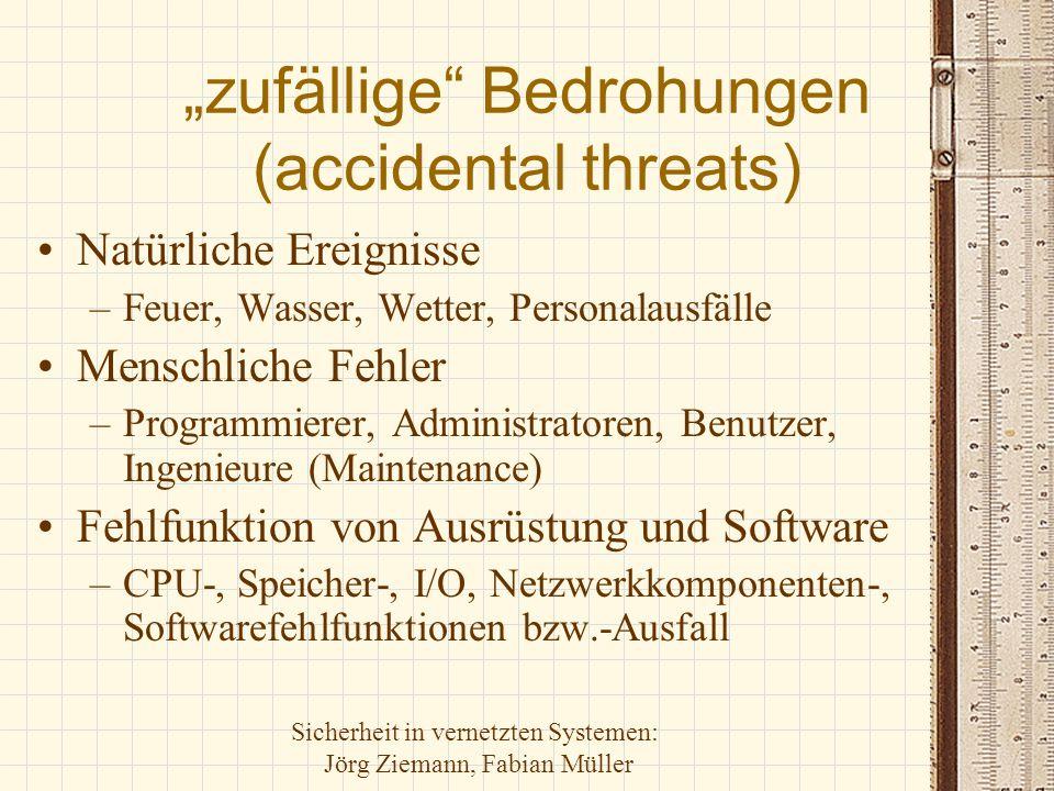 """Sicherheit in vernetzten Systemen: Jörg Ziemann, Fabian Müller """"zufällige"""" Bedrohungen (accidental threats) Natürliche Ereignisse –Feuer, Wasser, Wett"""