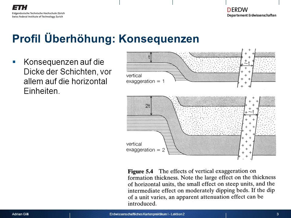 Adrian Gilli3Erdwissenschaftliches Kartenpraktikum I - Lektion 2 Profil Überhöhung: Konsequenzen  Konsequenzen auf die Dicke der Schichten, vor allem