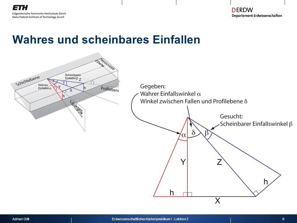 Adrian Gilli6Erdwissenschaftliches Kartenpraktikum I - Lektion 2 Wahres und scheinbares Einfallen